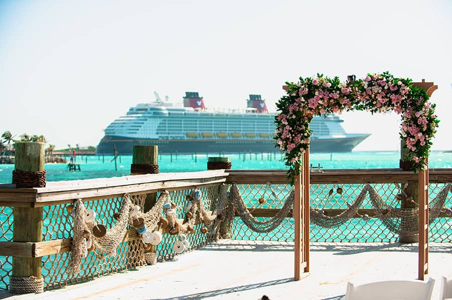 Exchanged Their Vows Right Over The Water At Wedding Pointe A New Venue Option Available On Disney S Private Island In Bahamas Castaway Cay