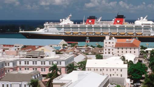 A Disney Cruise Line sailing in to port